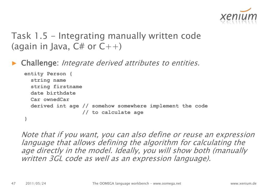 Task 1.5 - Integrating manually written code (again in Java, C# or C