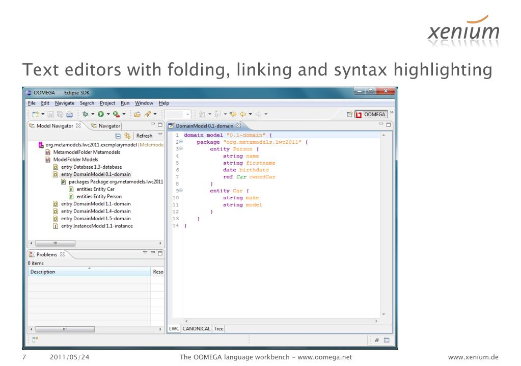 Text editors with folding, linking and syntax highlighting