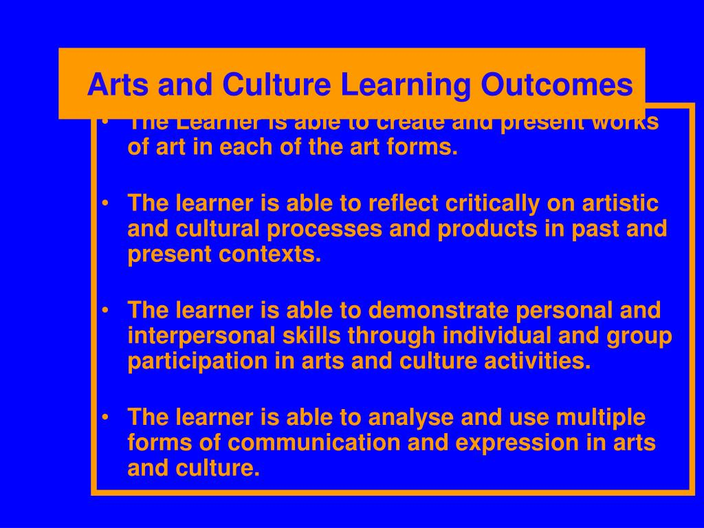 Arts and Culture Learning Outcomes