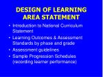 design of learning area statement