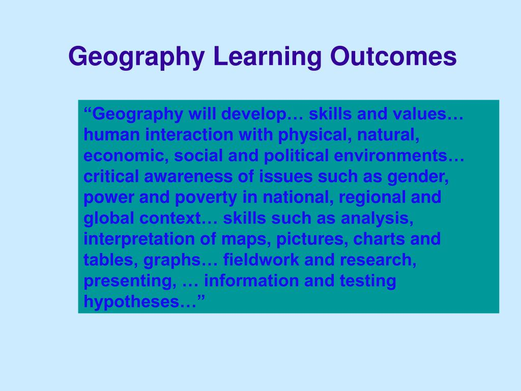 Geography Learning Outcomes