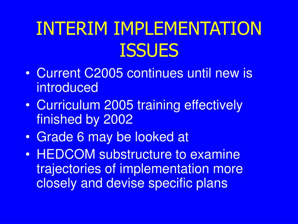 INTERIM IMPLEMENTATION ISSUES