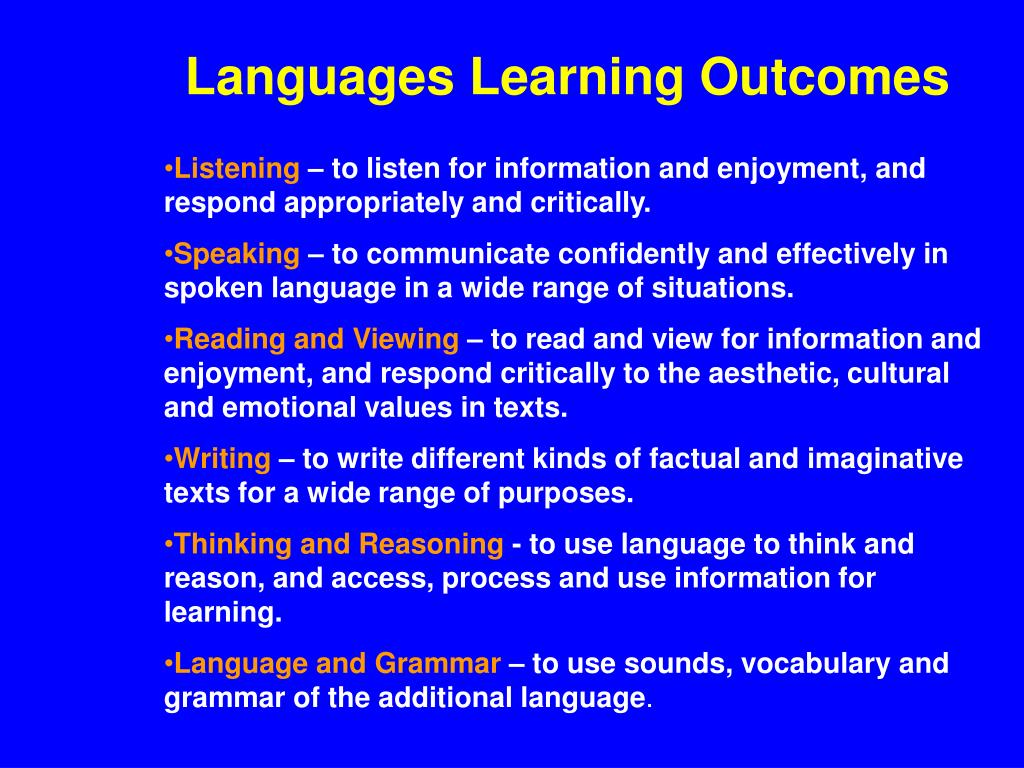 Languages Learning Outcomes