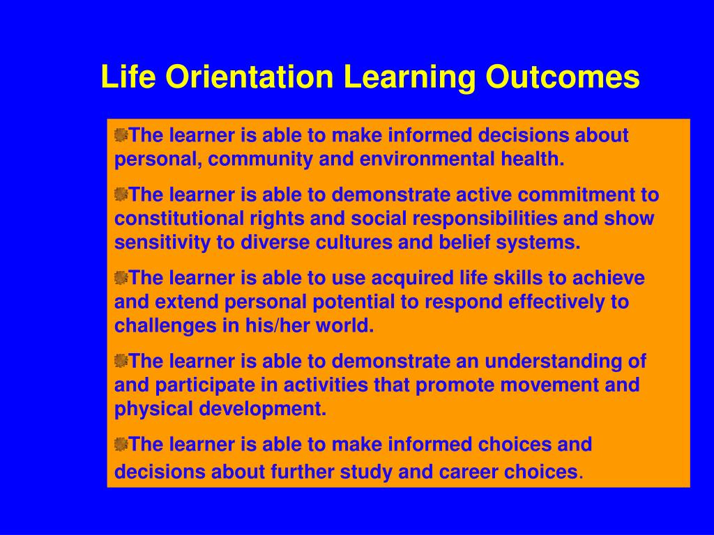 Life Orientation Learning Outcomes