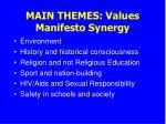 main themes values manifesto synergy