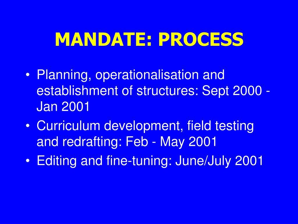 MANDATE: PROCESS