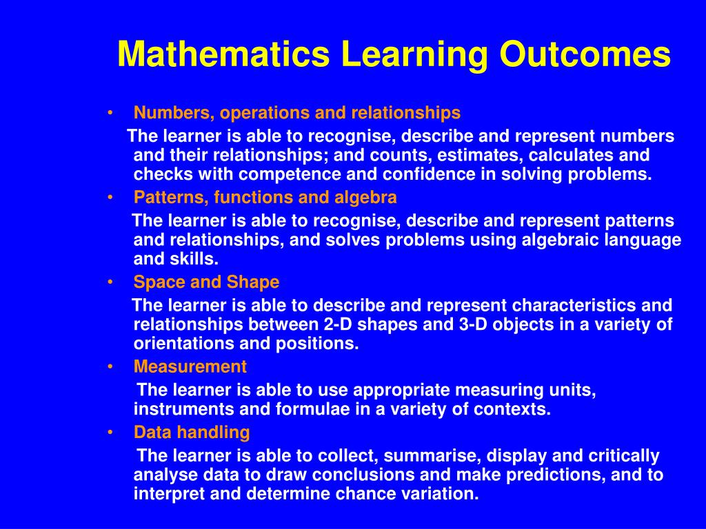 Mathematics Learning Outcomes