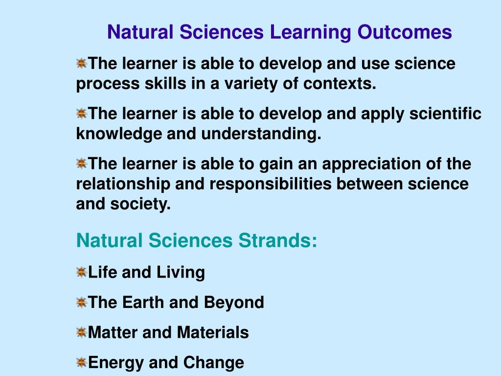 Natural Sciences Learning Outcomes