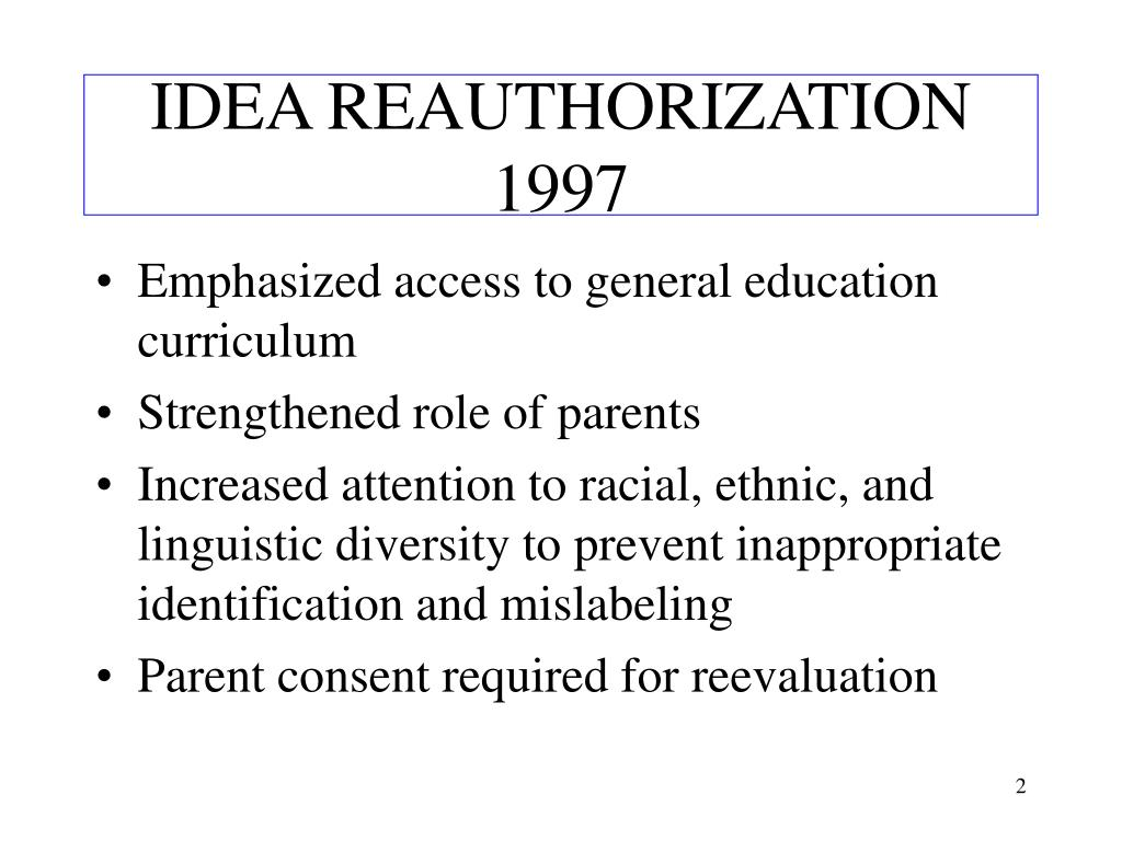 IDEA REAUTHORIZATION 1997