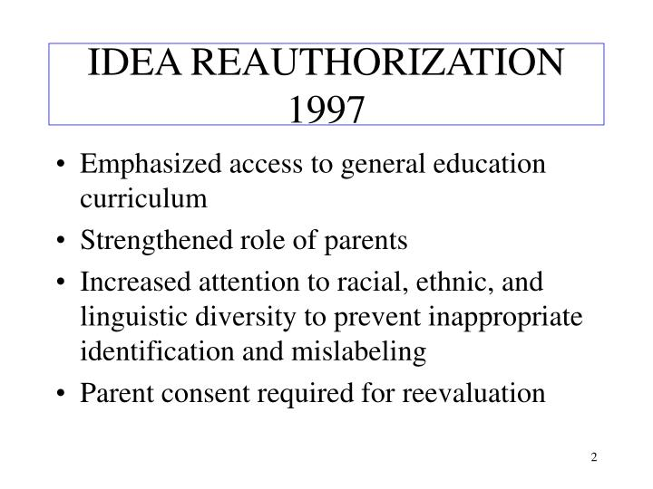 Idea reauthorization 1997 l.jpg
