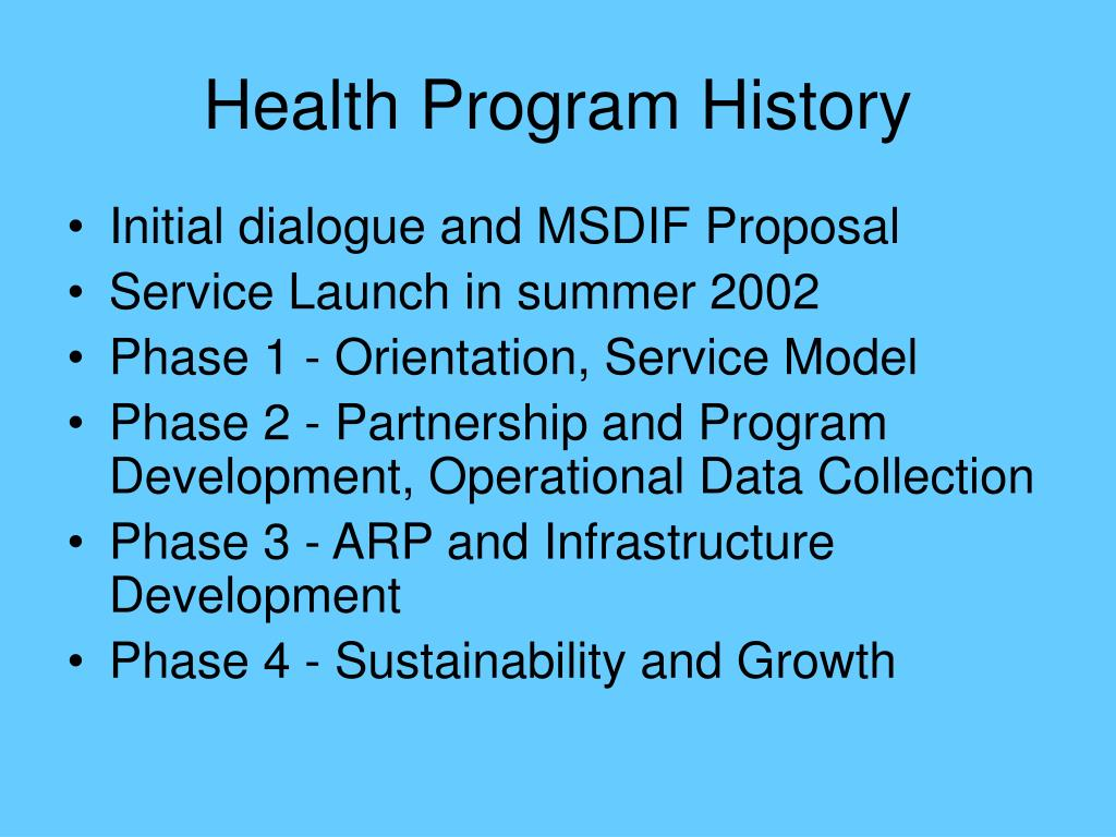 Health Program History