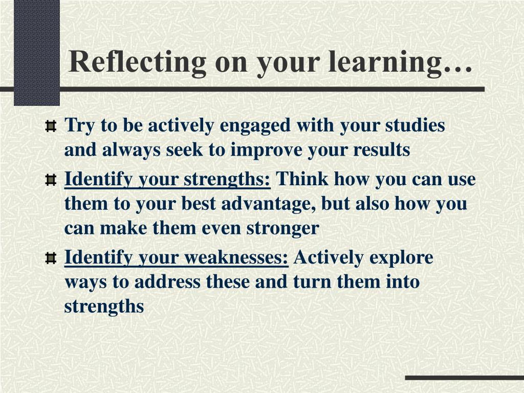 Reflecting on your learning…
