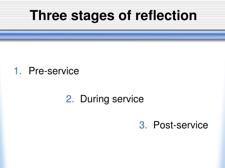 Three stages of reflection
