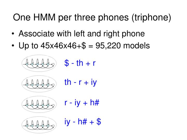 One HMM per three phones (triphone)