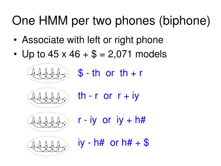One HMM per two phones (biphone)
