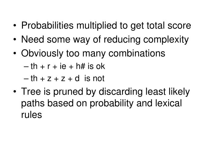 Probabilities multiplied to get total score