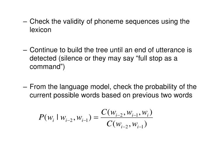 Check the validity of phoneme sequences using the lexicon
