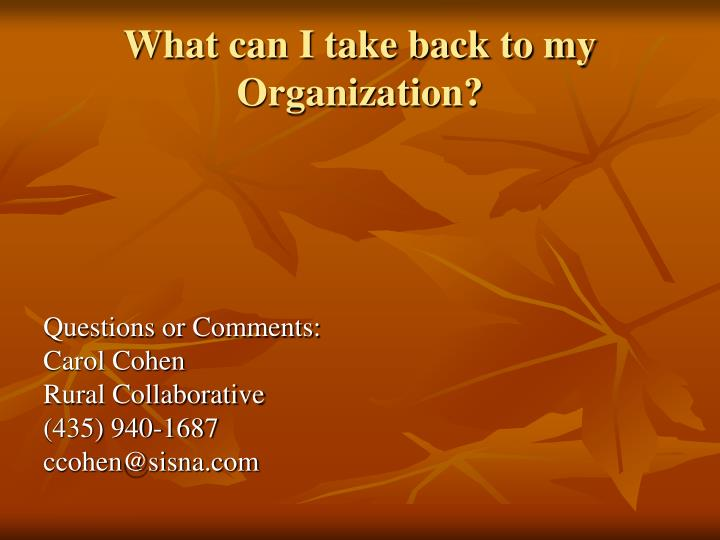 What can I take back to my Organization?