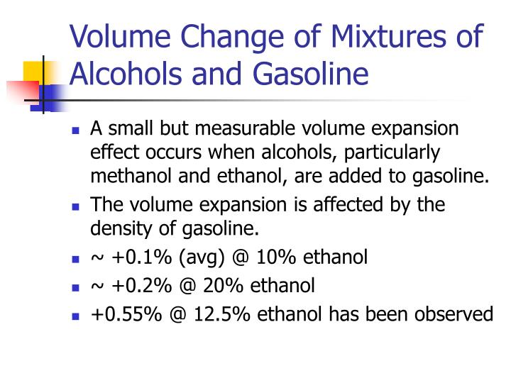 Volume Change of Mixtures of Alcohols and Gasoline