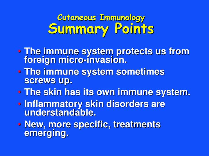Cutaneous immunology summary points