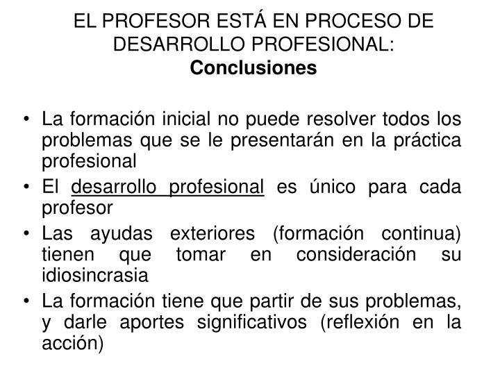 EL PROFESOR ESTÁ EN PROCESO DE DESARROLLO PROFESIONAL: