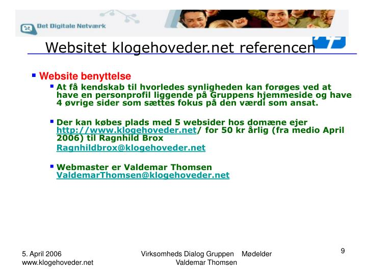 Websitet klogehoveder.net referencen