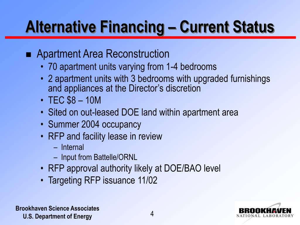 Alternative Financing – Current Status