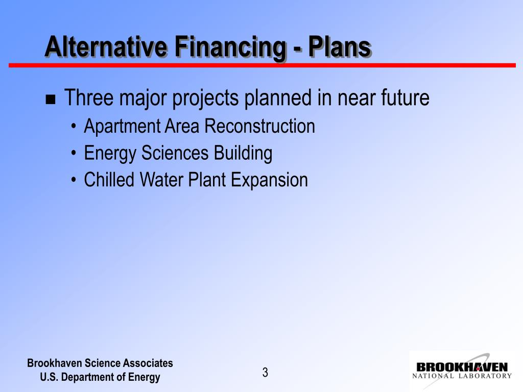 Alternative Financing - Plans