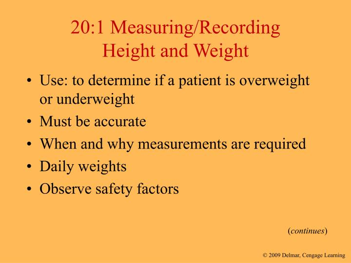 20 1 measuring recording height and weight