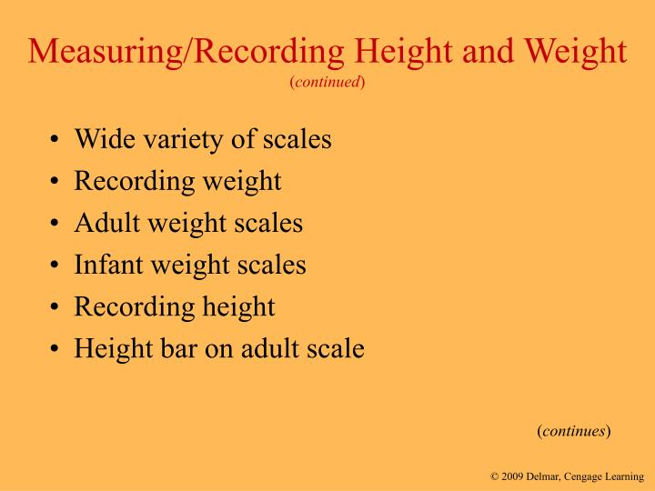 Measuring/Recording Height and Weight