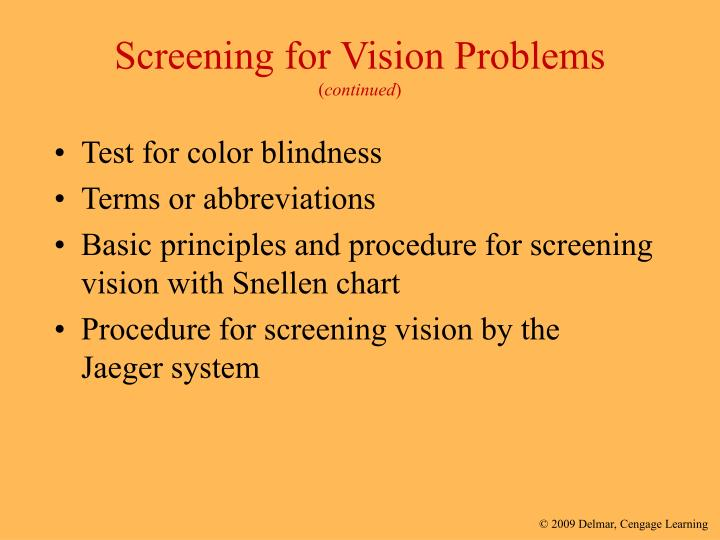 Screening for Vision Problems