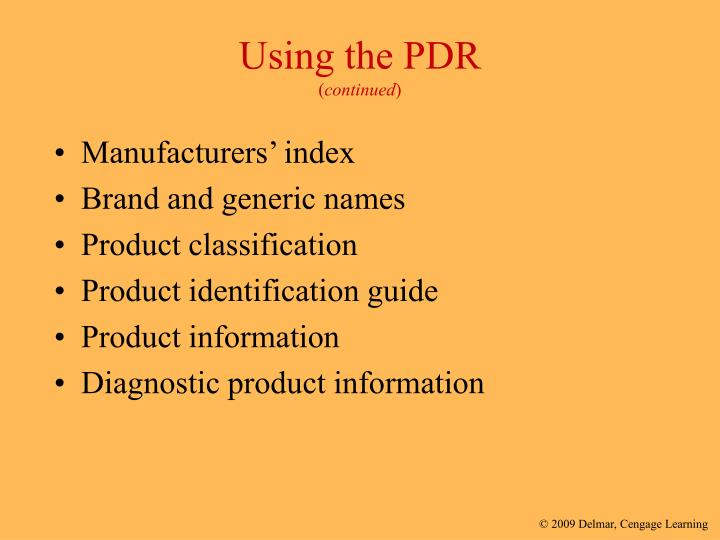 Using the PDR