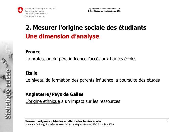 2. Mesurer l'origine sociale des étudiants