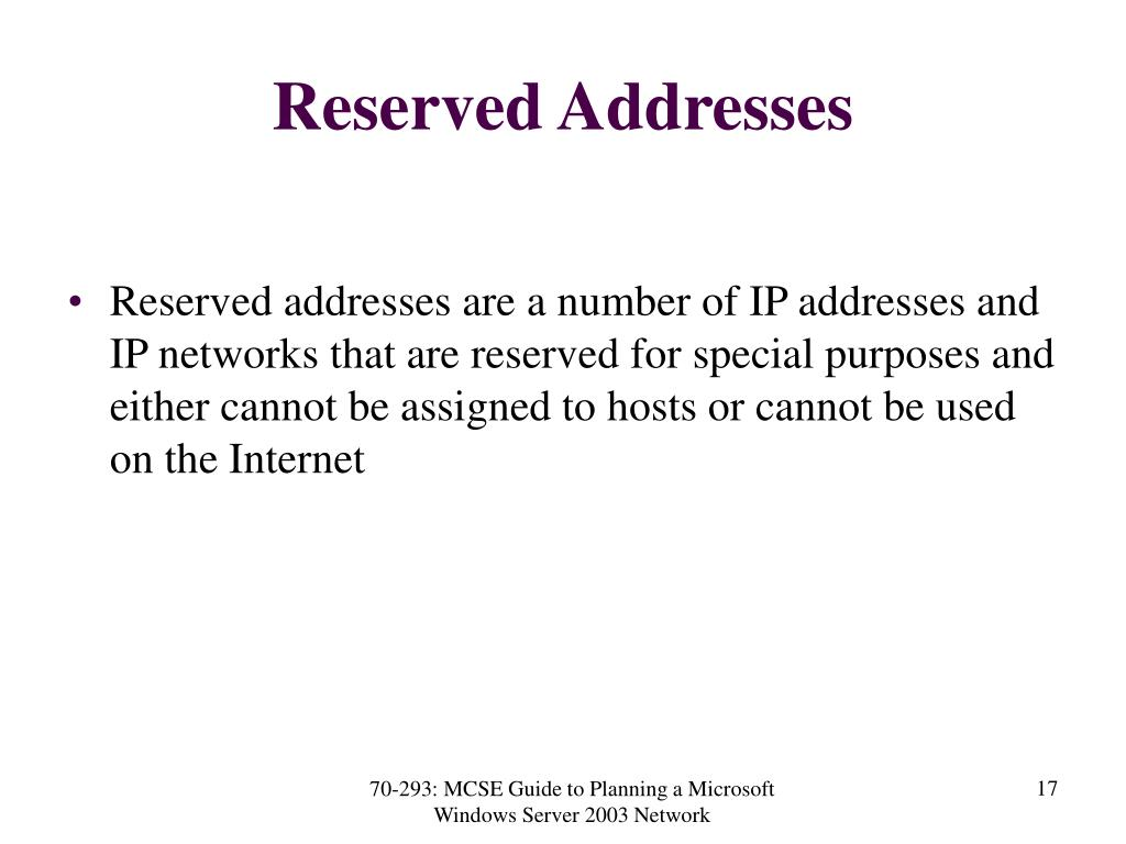 Reserved Addresses