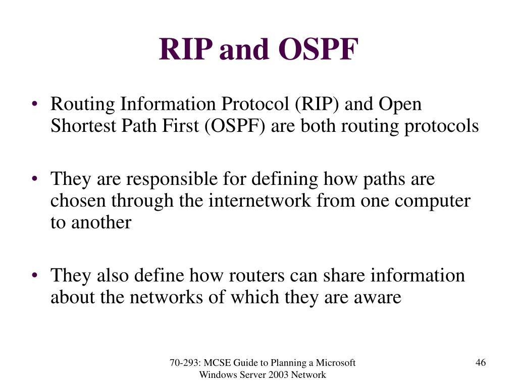 RIP and OSPF
