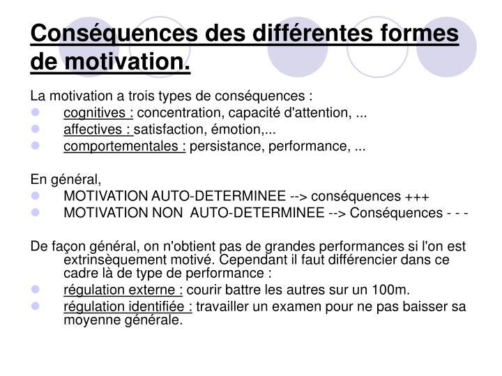 Conséquences des différentes formes de motivation.