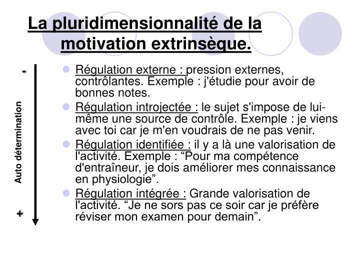 La pluridimensionnalité de la motivation extrinsèque.