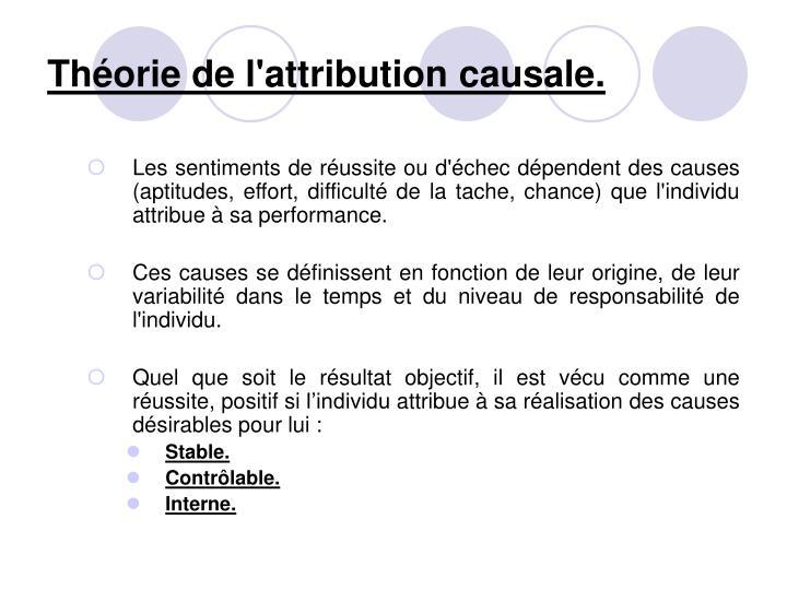 Théorie de l'attribution causale.