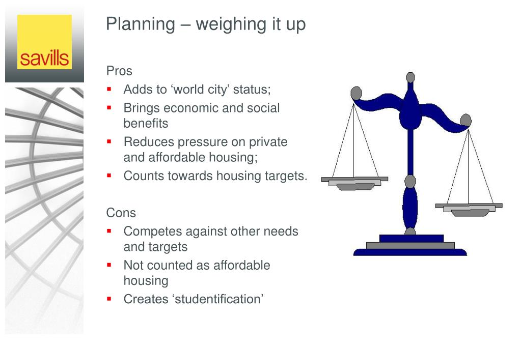 Planning – weighing it up