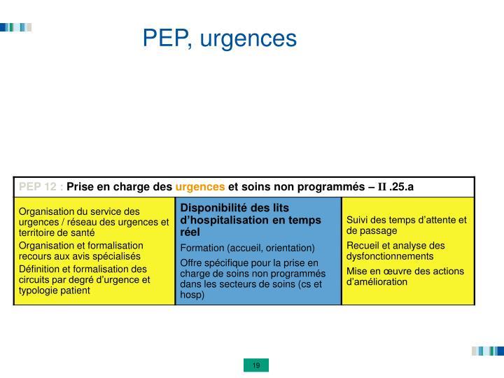 PEP, urgences