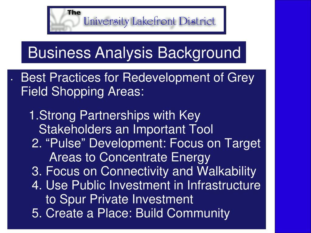 Business Analysis Background