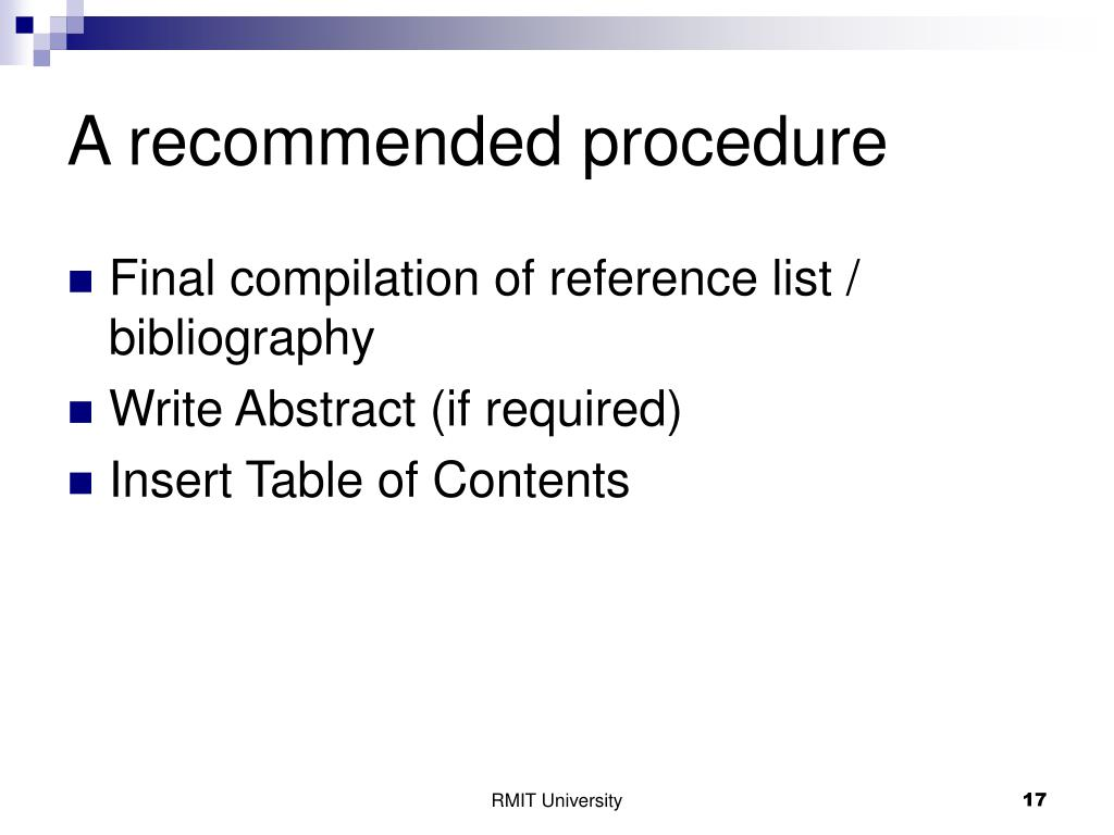 A recommended procedure