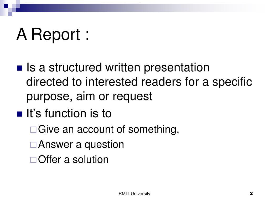 A Report :