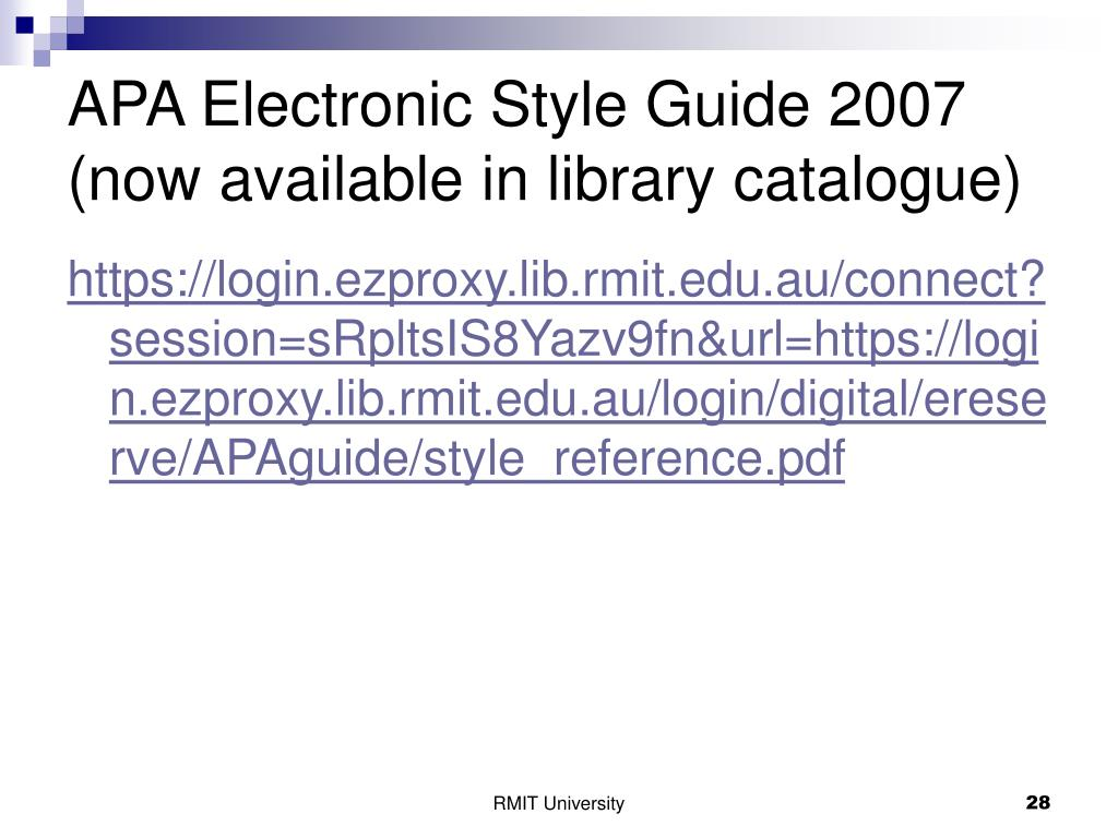 APA Electronic Style Guide 2007