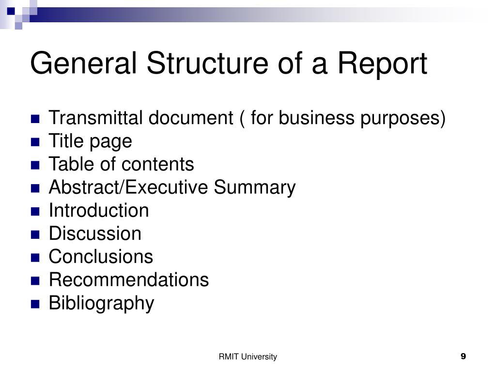 General Structure of a Report