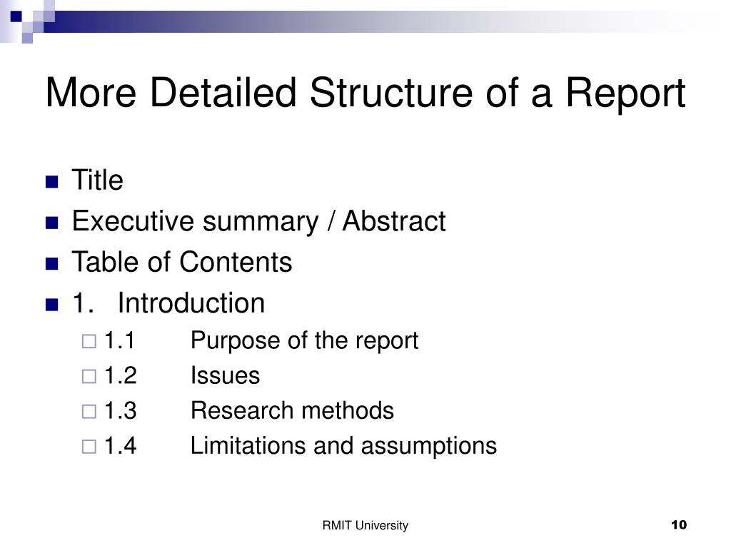More Detailed Structure of a Report