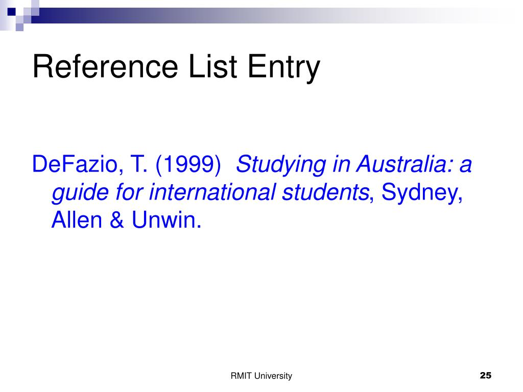 Reference List Entry