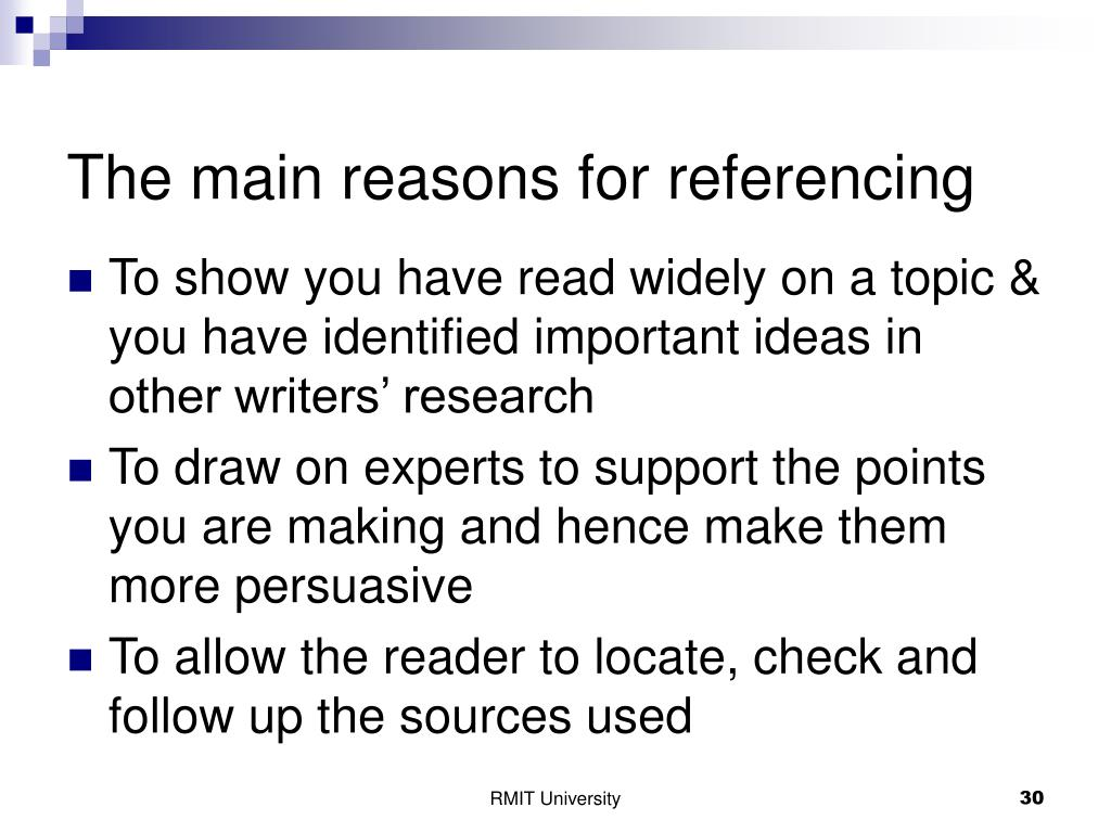 The main reasons for referencing