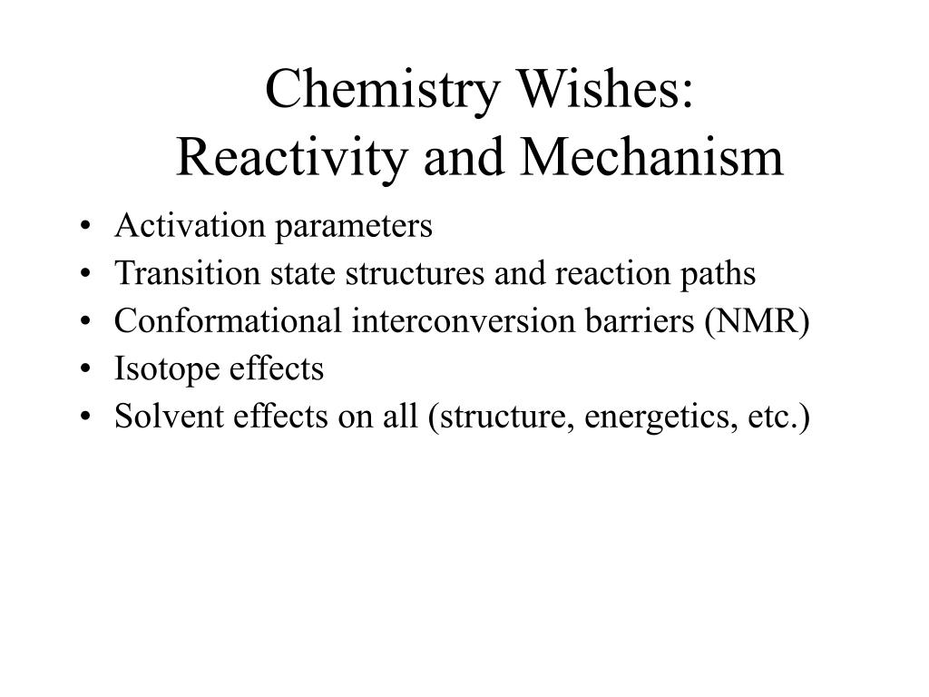 Chemistry Wishes: