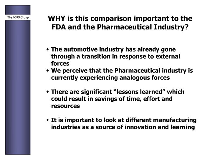 WHY is this comparison important to the FDA and the Pharmaceutical Industry?